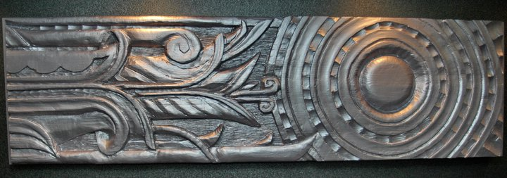 9 wooden relief sculptures commissioned for elevator lobbies on every floor.  Wood/Paint