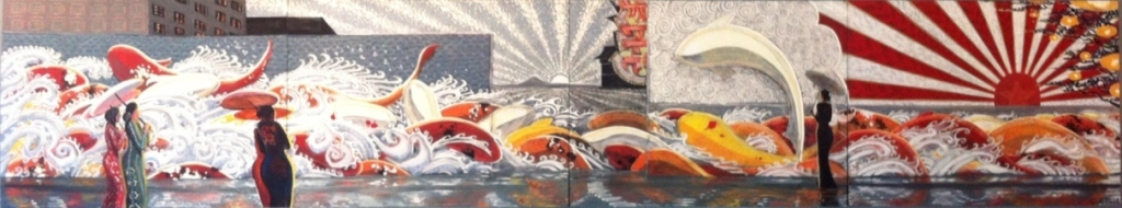 Electric Ocean.  Commissioned for Squid Ink Sushi, Peoria location.  Quad-pic.  4'X20'  2012